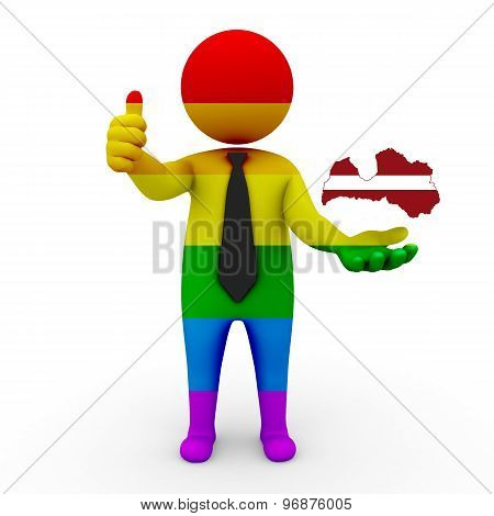 3d businessman people LGBT - with a map of the flag of Latvia