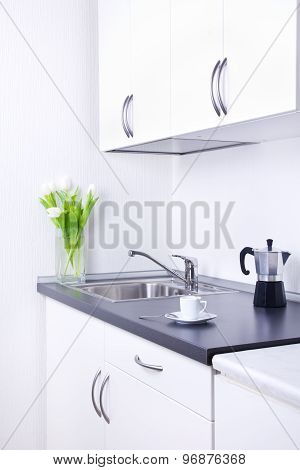 Percolator And Cup Of Coffee On Worktop, Kitchen Interior