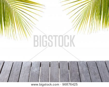 Wooden Pier And Palm Tree Leafs Silhouette On White