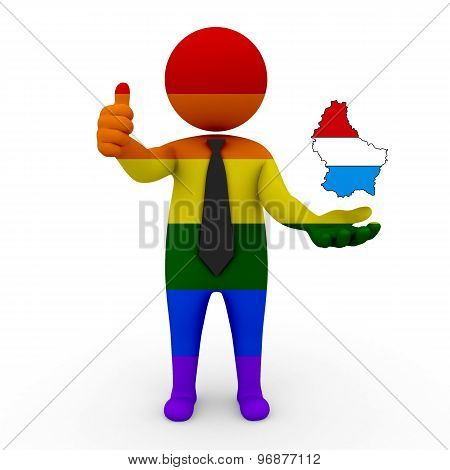 3d businessman people LGBT - with a map of the flag of Luxembourg