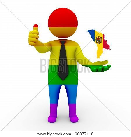 3d businessman people LGBT - with a map of the flag of Moldova