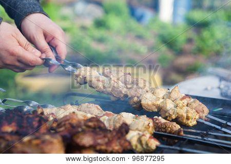 Cooking Grilled Shashlik On Barbeque