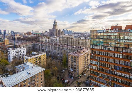 central air view  area in Moscow.