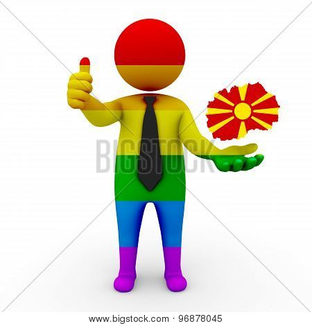 3d businessman people LGBT - with a map of the flag of Macedonia