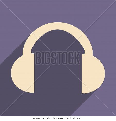 Flat with shadow icon and mobile applacation headphones