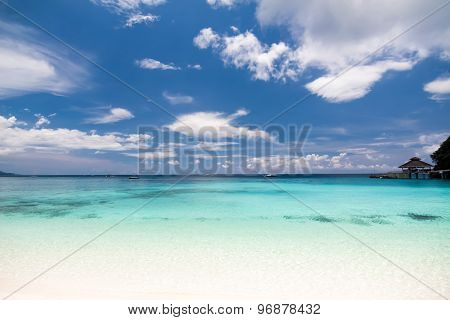 Tropical Landscape With Turquoise Sea And Sandy Beach