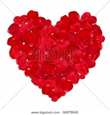 Heart made from red rose petals.