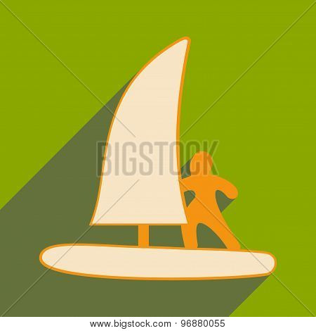 Flat with shadow icon and mobile applacation windsurfing