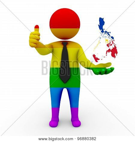 3d businessman people LGBT - with a map of the flag of Philippines