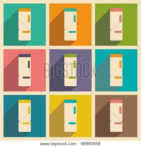 Flat with shadow concept and mobile application refrigerators