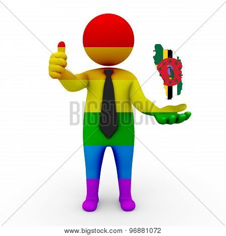 3d businessman people LGBT - with a map of the flag of Dominica