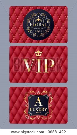 VIP cards with abstract red quilted background.