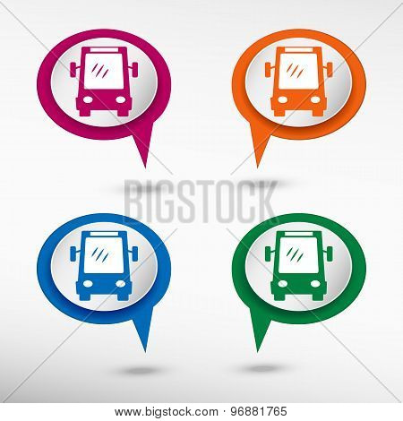 Bus icon on colorful chat speech bubbles