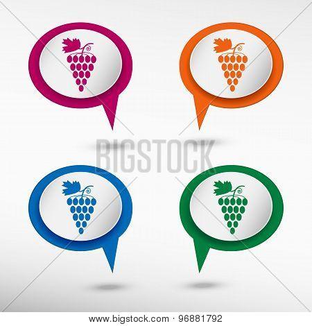 Grape on colorful chat speech bubbles