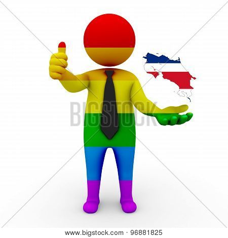 3d businessman people LGBT - with a map of the flag of Costa Rica