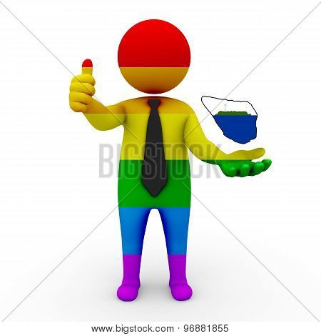 3d businessman people LGBT - with a map of the flag of Navassa