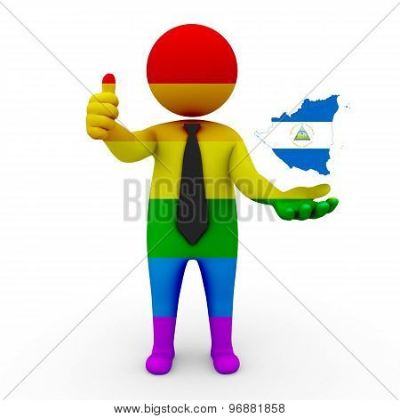 3d businessman people LGBT - with a map of the flag of Nicaragua