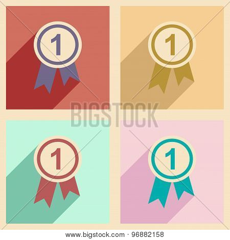 Flat with shadow concept and mobile application medal