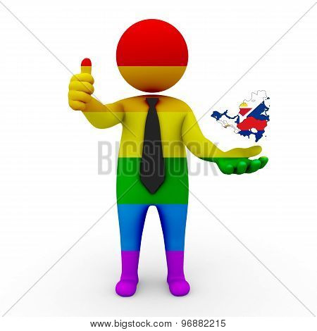 3d businessman people LGBT - with a map of the flag of Saint-Martin
