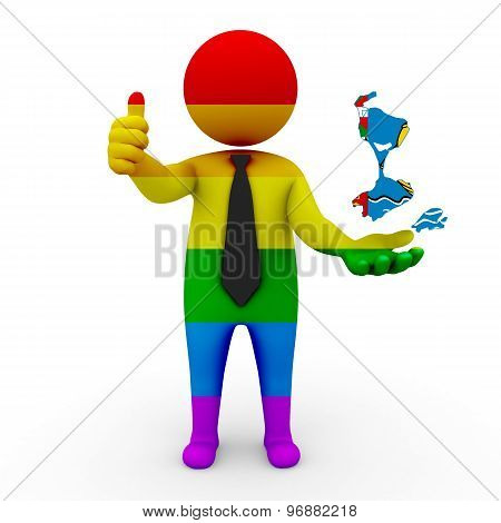 3d businessman people LGBT - with a map of the flag of Saint-Pierre and Miquelon
