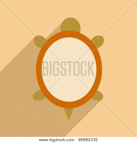 Flat with shadow icon and mobile application turtle