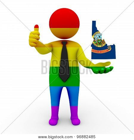 3d businessman people LGBT - with a map of the flag of Idaho