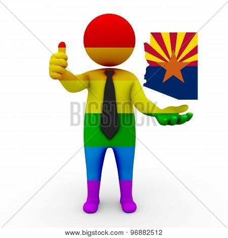 3d businessman people LGBT - with a map of the flag of Arizona