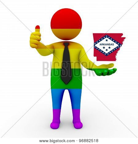 3d businessman people LGBT - with a map of the flag of Arkansas