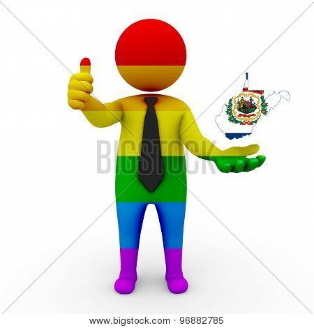 3d businessman people LGBT - with a map of the flag of  West Virginia