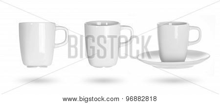 white cup on a white background. white mug different angles.