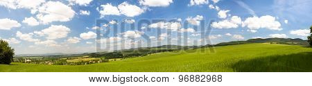 Slovak Countryside Landscape With Fertile Fields And Lush Green Forests
