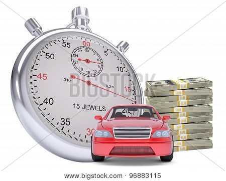 Timer with car and stack of money