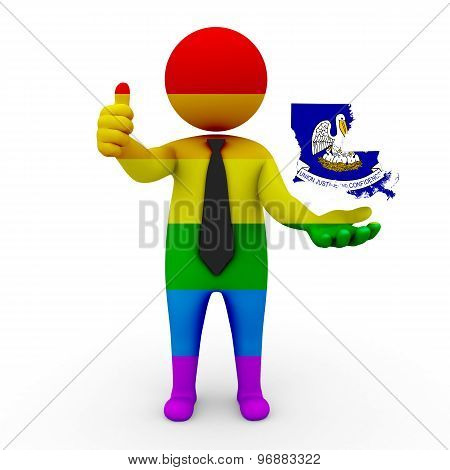 3d businessman people LGBT - with a map of the flag of Louisiana