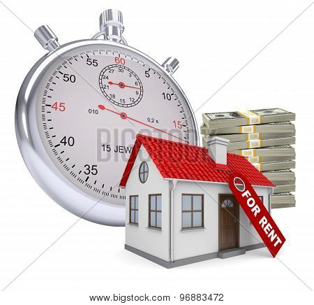 Timer with house for rent and stack of money