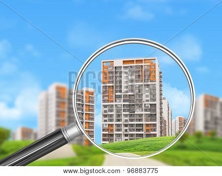 Colorful buildings under magnifier