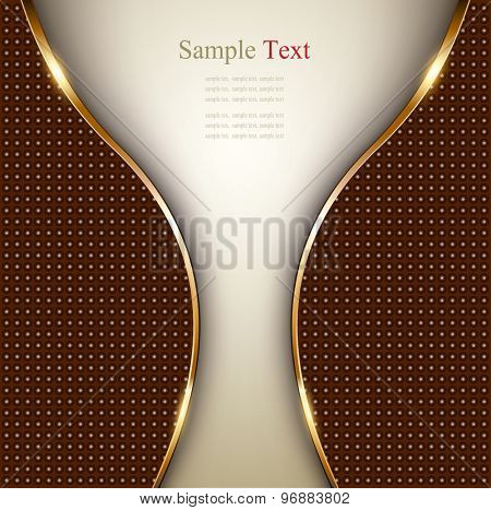 Abstract business background with gold wave and dotted pattern, vector