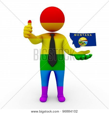 3d businessman people LGBT - with a map of the flag of Montana