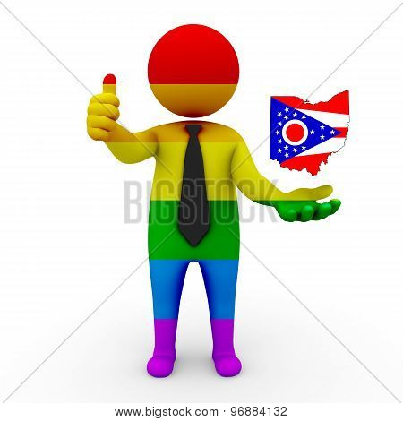 3d businessman people LGBT - with a map of the flag of Ohio