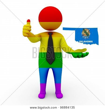3d businessman people LGBT - with a map of the flag of Oklahoma