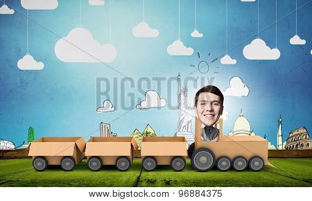 Man ride paper train