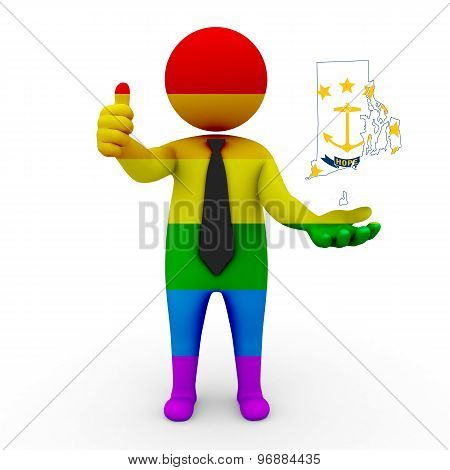 3d businessman people LGBT - with a map of the flag of Rhode Island