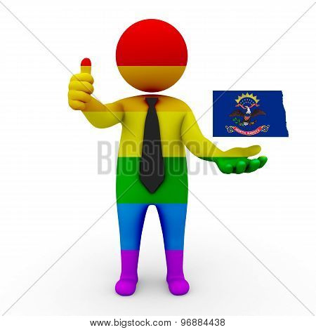 3d businessman people LGBT - with a map of the flag of North Dakota