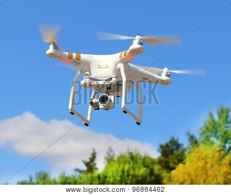 PILSEN CZECH REPUBLIC - JULY 26, 2015: Drone quadrocopter Dji Phantom 3 Professional with high resolution digital camera (High quality 4K). New tool for aerial photo and video.