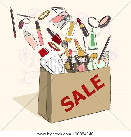Paper Bag With Cosmetics Products For Makeup On Sale