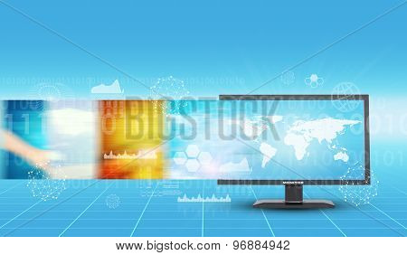 Monitor on abstract background
