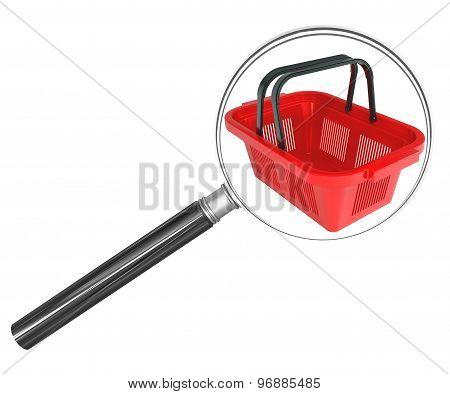 Shopping basket under magnifier