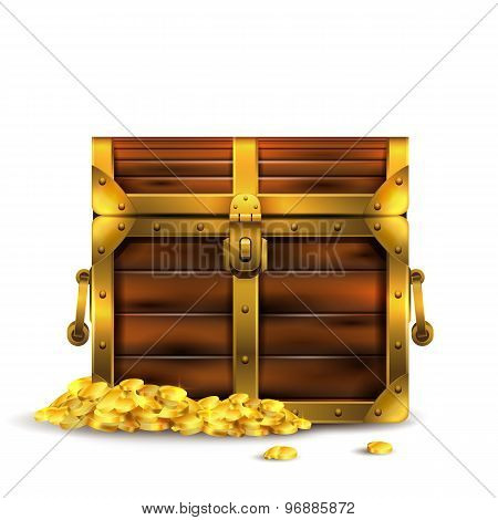 Vintage wooden chest closed with golden coins .