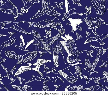 Birds night blue seamless pattern wallpaper