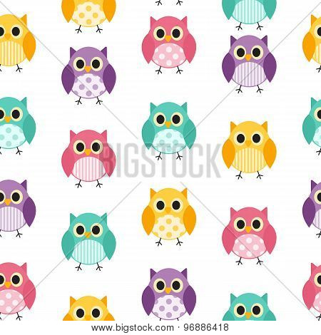 Owl Seamless Pattern Background Vector Illustration