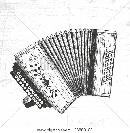 hand drawn accordion
